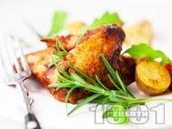Печени пилешки крилца на скара в марината от шипков мармалад и тъмна бира на фурна